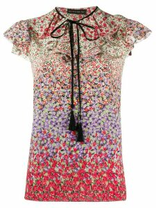 Etro floral ruffle blouse - PURPLE