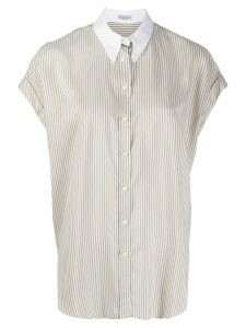 Brunello Cucinelli button-down collar striped shirt - Brown