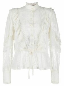 Etro frill-trim sheer blouse - White