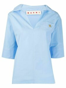Marni stepped-hem blouse - Blue