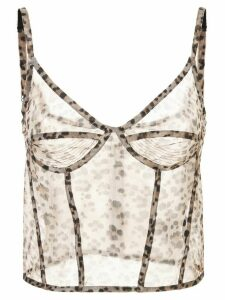 R13 sheer leopard top - Brown