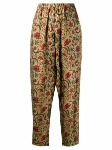 Uma Wang tapered floral print trousers - NEUTRALS