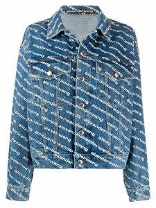 Alexander Wang logo print denim jacket - Blue