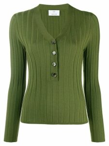 Allude button down V-neck top - Green