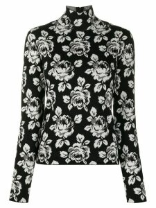 Balenciaga intarsia rose turtle-neck jumper - Black