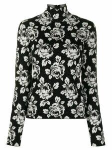 Balenciaga intarsia rose turtle-neck jumper - Black