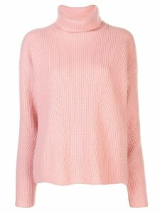 Sally Lapointe silk ribbed turtle neck jumper - PINK