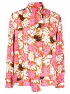Marni tropical print pussy bow shirt - ORANGE
