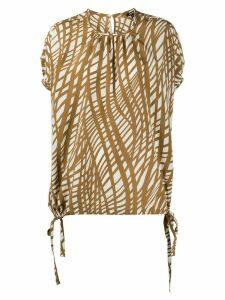 Aspesi grid print silk blouse - NEUTRALS