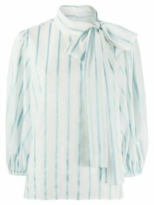 Red Valentino Striped Lamé Voile blouse - White