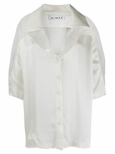 Almaz lace-panel satin blouse - White