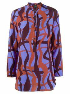Aspesi wavy print henley blouse - Blue