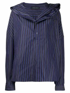 Y/Project striped-print oversized shirt - Blue