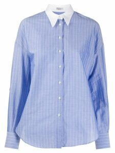 Brunello Cucinelli pinstriped point-collar shirt - Blue