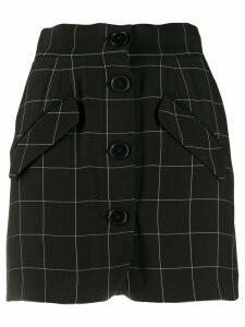 Almaz windowpane-check button-through mini skirt - Black