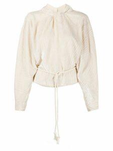Nanushka velvet devoré tie-waist blouse - NEUTRALS
