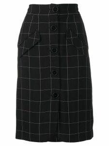 Almaz windowpane-check button down pencil skirt - Black