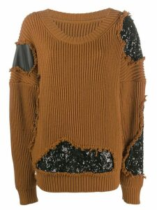Almaz sequin embellished jumper - Brown