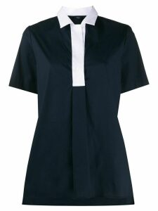 Fay contrast-collar A-line shirt - Blue