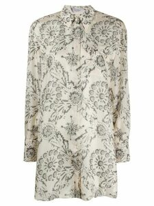 Brunello Cucinelli long floral print shirt - NEUTRALS