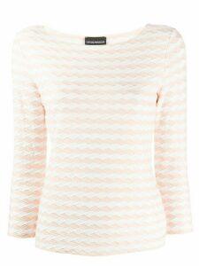 Emporio Armani textured jersey jumper - White
