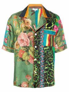 Pierre-Louis Mascia Aloeuw mixed-print silk shirt - Green
