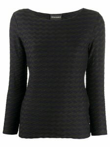 Emporio Armani textured jersey top - Black
