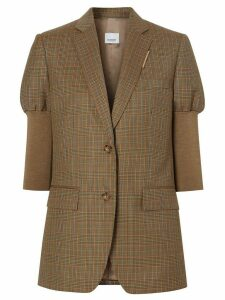 Burberry knitted sleeve houndstooth check tailored jacket - Brown