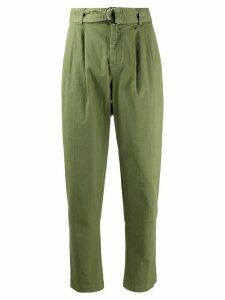 P.A.R.O.S.H. denim tapered cropped trousers - Green