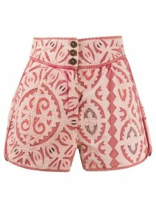 Ulla Johnson mola-effect high-rise shorts - PINK