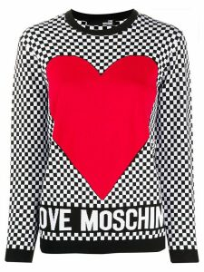 Love Moschino check-print crew-neck jumper - Black