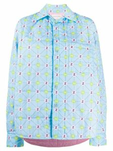Natasha Zinko padded printed oversized shirt jacket - Blue