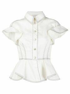 Alexander McQueen peplum denim shirt - White
