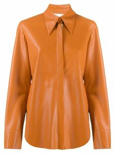 Nanushka leather look shirt jacket - ORANGE
