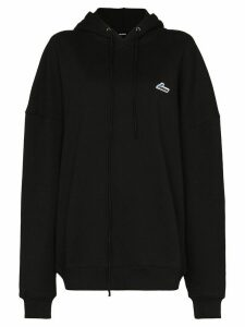 We11done logo embroidered hoodie - Black