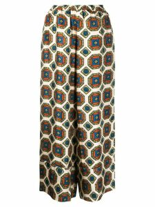 Pierre-Louis Mascia geometric-print silk trousers - NEUTRALS