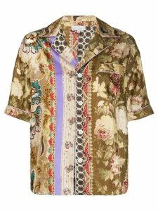Pierre-Louis Mascia Aloeuw mixed-print silk shirt - Brown
