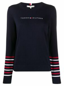 Tommy Hilfiger stripe trim jumper - Blue