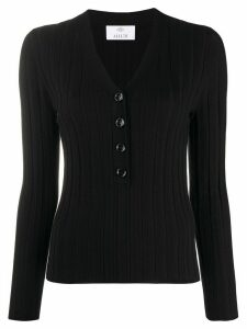 Allude V-neck button down top - Black