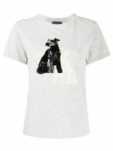 Emporio Armani dog print T-shirt - Grey