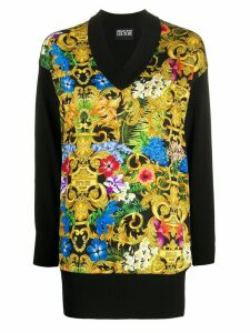 Versace Jeans Couture Barocco flower print longline knitted top -