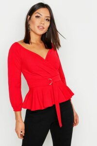 Womens Crepe Off The Shoulder Wrap Peplum Top - red - 10, Red