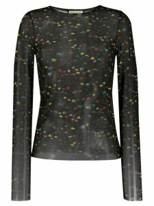 Semicouture floral print sheer blouse - Black