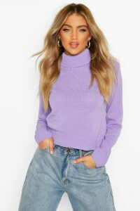 Womens Roll Neck Crop Jumper - purple - L, Purple