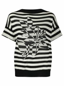 Twin-Set floral intarsia striped jumper - White