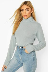 Womens Roll Neck Crop Jumper - green - S, Green