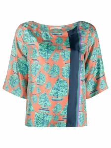 Odeeh graphic print silk blouse - ORANGE