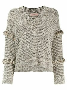 Twin-Set frayed sleeves detail jumper - NEUTRALS