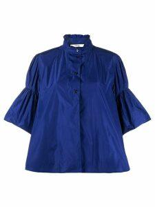 Odeeh flared sleeve ruffle neck shirt - Blue