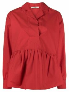 Odeeh tiered style curved hem shirt